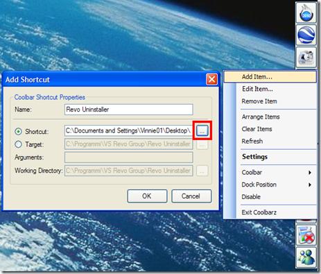 Coolbarz aggiungere applicazioni alla barra