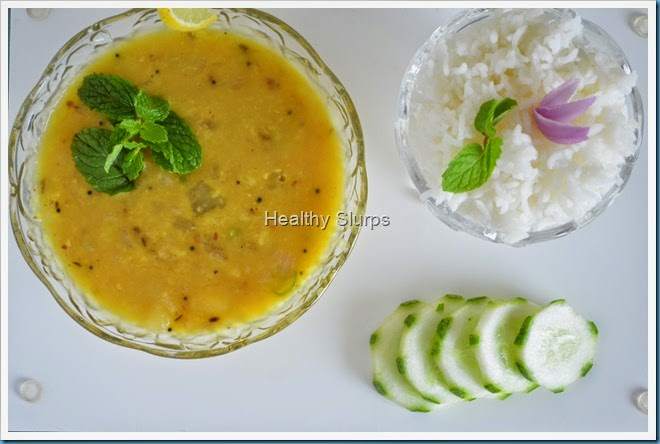 Mung dal with steamed rice and salad
