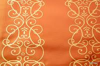 """Luksusowa trudnopalna tkanina z haftem. """"Tafta"""" butikowa. Na zasłony, poduszki, narzuty, dekoracje. Pomarańczowa, brzoskwiniowa."""