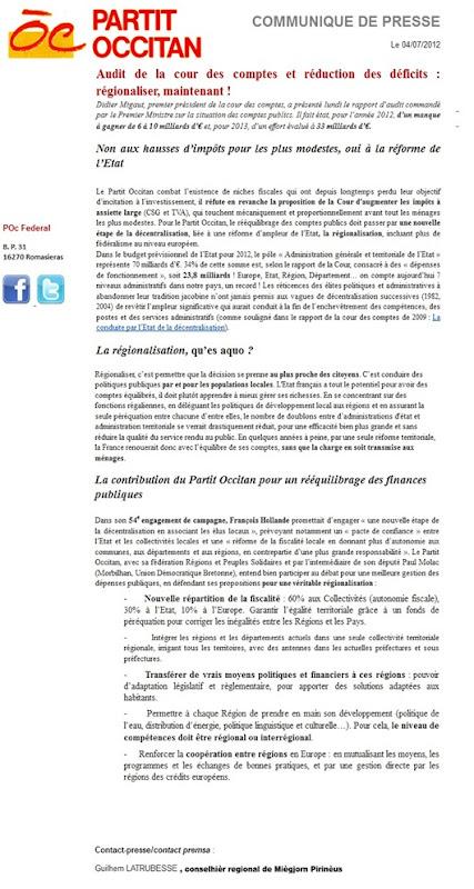 Comunicat del Partit Occitan finançament de la decentralizacion POC 040712