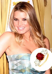 jessica simpson with ruby engagement ring