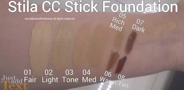 Stila CC (Color Correct) Stick Foundation SPF 20   Swatches of Shades 01 Fair, 02 Light, 03 Tone, 04 Medium 05 Rich Medium, 06 Warm, 07 Dark, 08 Tan