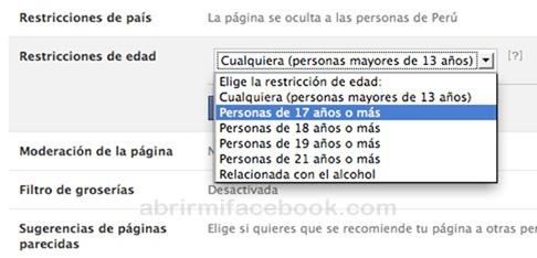 Cómo restringir la edad en mi página de Facebook