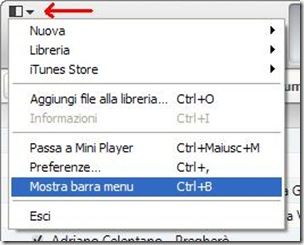 iTunes 11 abilitare la barra dei menu