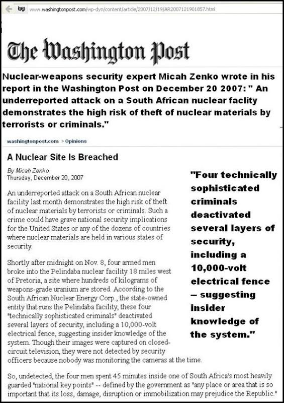 PELINDABA A NUCLEAR SITE IS BREACHED DEC 20 2007 MICAH ZENKO
