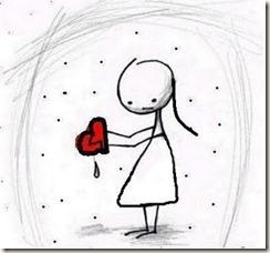 Menina coração sangrando