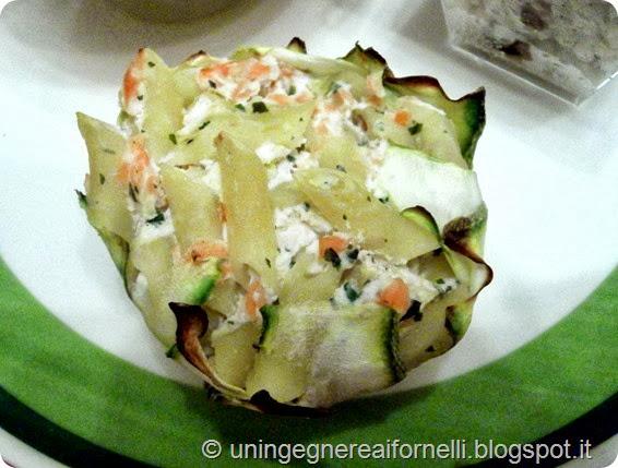 cestini zucchine pasta salmone ricotta forno monoporzione primo