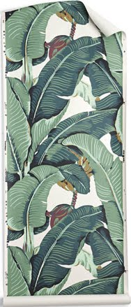 Here's an example of banana-leaf wallpaper you can put up in your own kitchen or dining area.