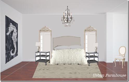 Urban farmhouse tranquil master bedroom makeover for Urban farmhouse bedroom