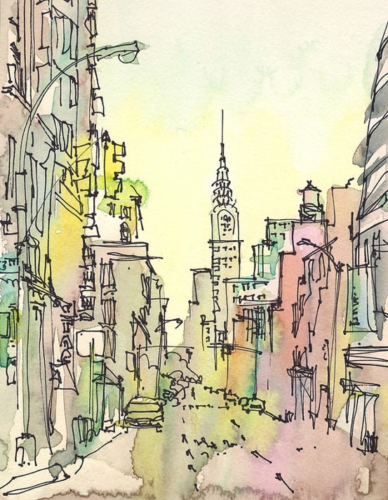NY Travel Art by SketchAway