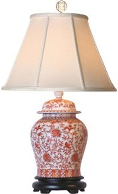 coral porcelain temple jar lamp