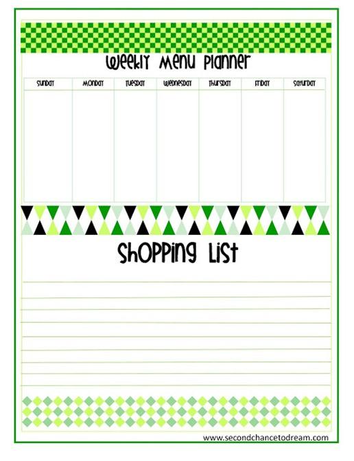 aweekly menu planner printable
