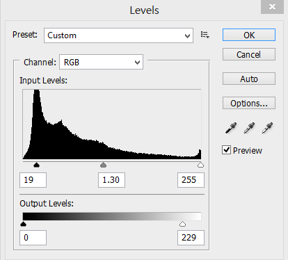 level slider values