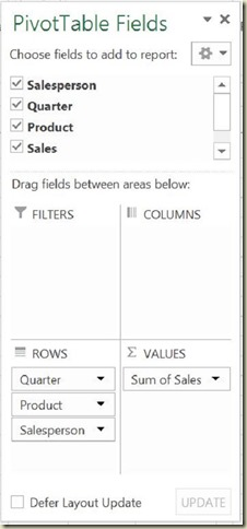 Pivot Tables in Excel - 1st Pivot Table Field Arrangement