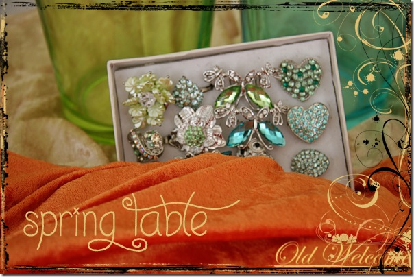 spring table blue green orange gold crushed velvet handblown glass costume jewelry