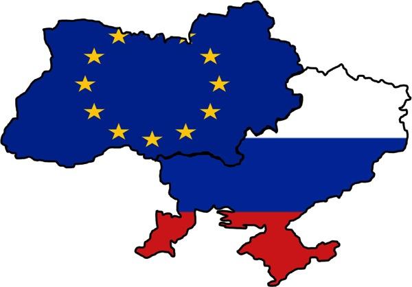 Ukraine split between EU and Russia map