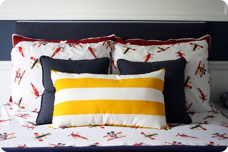 yellow and white striped pillow
