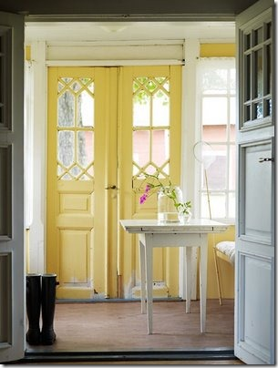 yellow interior doors via hooked on houses