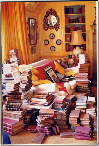 golden study overflowing with books via fallon elizabeth tumblr