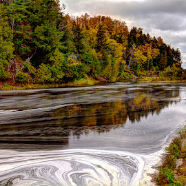 Foam on the River by Kirk Schleife - Landscapes Waterscapes ( water, dam, lake superior, foam, fall color, river,  )