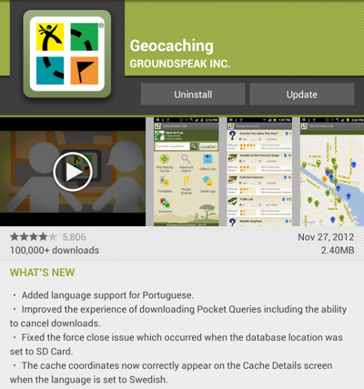 Geocaching version 2.5.2 for Android