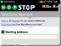 HopStop, una de las aplicaciones más veteranas, a través de una BlackBerry