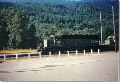 Burlington Northern SD40-2 #7130 in Skykomish in 2000
