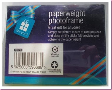 Poundland paperweight photoframe