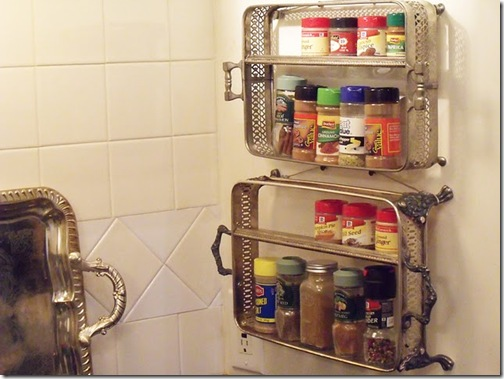 Mod Vintage Life - vintage serving trays into spice racks