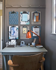 Even the most common items (the clipboard) can have a sophisticated air with the help of wallpaper. It's a great idea for small, leftover scraps. (marthastewart.com)