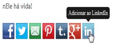 Widget ícones sociais com tooltips