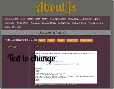 Aspecto de la web AboutJs, que muestra propiedades JavaScript