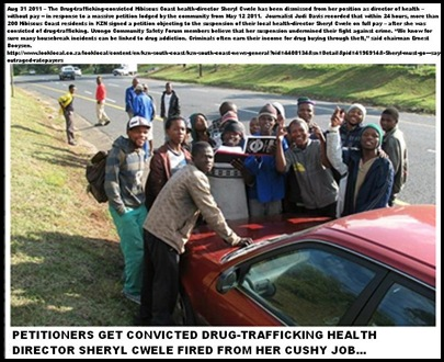 CWELE Cheryl ConvictedDrugDealerHealthDirector KZN Margate residents petioners