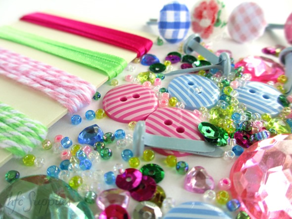 Cupcakes and Roses embellishment pack 2 buttons ribbon brads beads