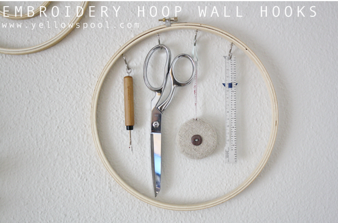 embroidery hoop wall hooks tutorial by yellow spool