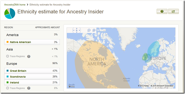 Autosomal DNA test results for the Ancestry Insider