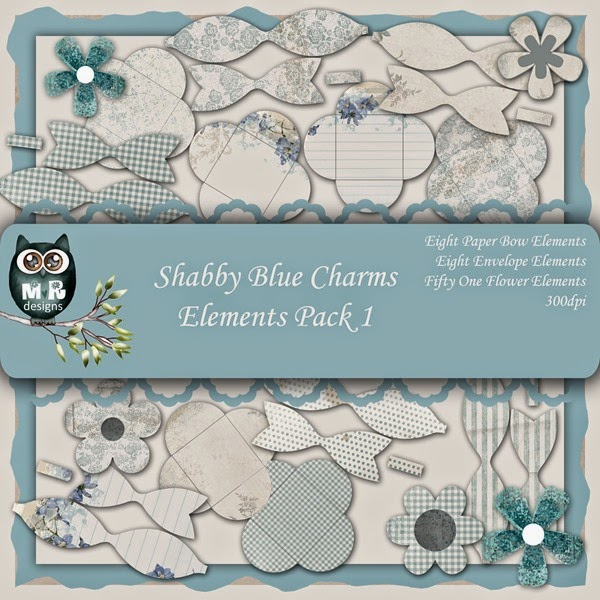 Shabby Blue Charms Elements Front Sheet Pack 1