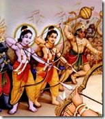 Rama and Lakshmana with the monkey army