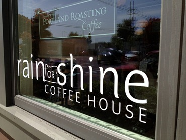 exterior window of Rain or Shine Coffee House in Portland, OR