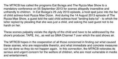 MTRCB update on Ryzza Mae Dizon proceedings