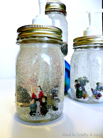 Dollar Store Mason Jar Snow Globe Soap Dispensers Mad In