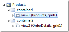 Master data view on the &#39;Products&#39; page displayed in the Project Explorer