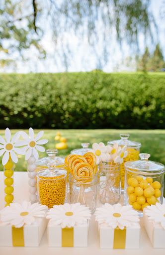 Candy buffet with daisy favor boxes. 