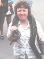 elaine with boa constrictor 1987,jpg