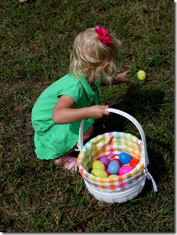 Cori grabbing an egg