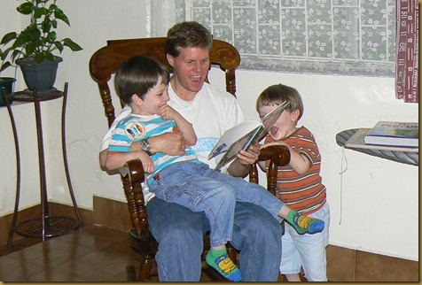 Bob reading with Meshach and Silas