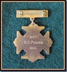 G G Phairn medal 1931 reverse side # 867