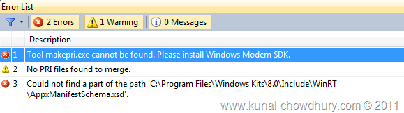 Visual Studio 11 Error - Please install Windows Modern SDK