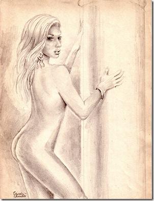 Nud de femeie cu coloana desen in creion