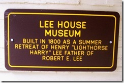 Lee House Museum sign at the entrance to the Lee Cabin